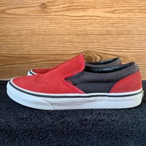 Vans Youth Red/Black Slip Ons